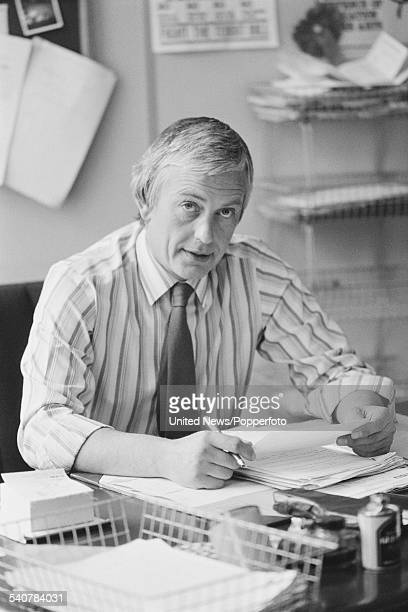 British trade unionist and General Secretary of the Civil Service Union, John Sheldon pictured sitting at his desk on 14th May 1982.