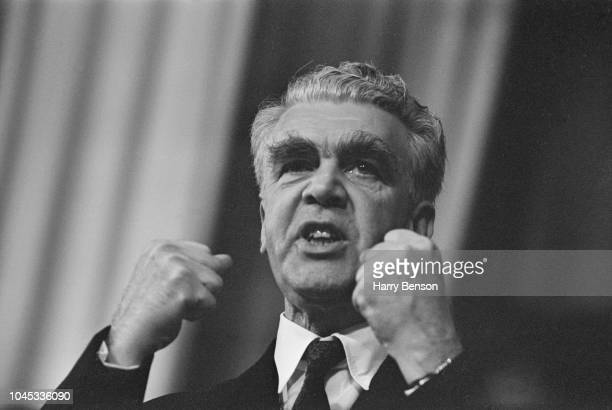 British trade unionist George Woodcock , General Secretary of the Trades Union Congress, makes a speech from the platform during the Trades Union...