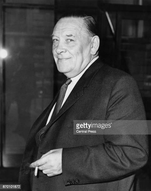 British trade unionist Ted Hill , chairman of the TUC , arrives at Congress House in Great Russell Street, London, for a meeting between the General...