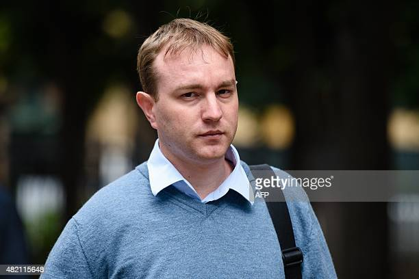 British trader Tom Hayes arrives at Southwark Crown court in London on July 27 2015 as the trial over alleged rigging of the London Interbank Offered...