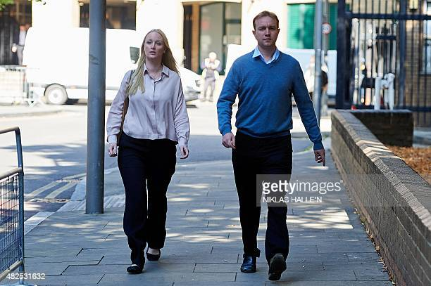 British trader Tom Hayes arrives with his wife Sarah at Southwark Crown Court in London on July 31 as the trial over alleged rigging of the London...