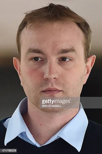 British trader Tom Hayes leaves Southwark Crown court in London on May 26 2015 after a day of evidence in his trial over alleged rigging of the...