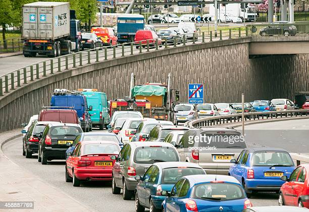 british traffic jam - manchester uk stock photos and pictures
