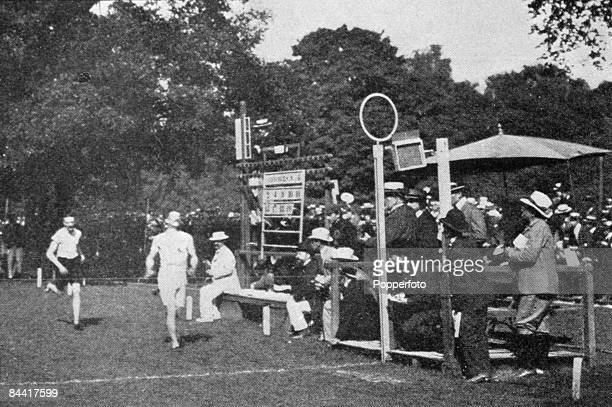 British train driver and Olympic athlete Charles Bennett wins the 1500 metres event at the 1900 Summer Olympics, Bois de Boulogne, Paris, 15th July...