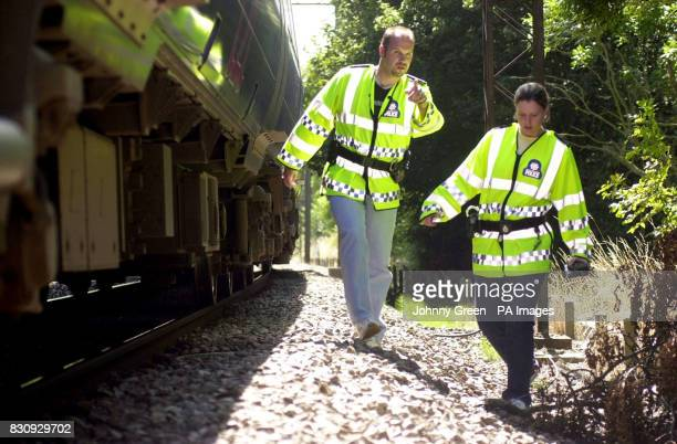 British Transport Police Constable Rebecca Lamb is alerted by her colleague PC Ian Gathercole to something suspicious as they walk beside a c2c...