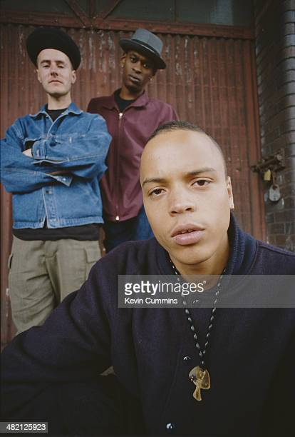 British trip hop group Massive Attack June 1991 Left to right Robert '3D' Del Naja Grant 'Daddy G' Marshall and Andrew 'Mushroom' Vowles