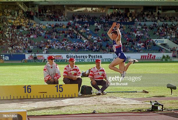 British triplejumper Jonathan Edwards makes his third jump at the World Championships in Athletics at the Ullevi Stadium in Gothenburg Sweden 7th...