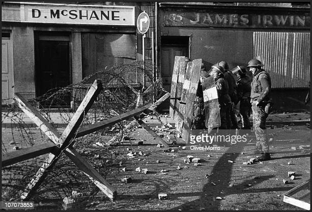 British troops and Irish police stop a People's Democracy march from proceeding through downtown Armagh Northern Ireland 1972 The British Army fired...