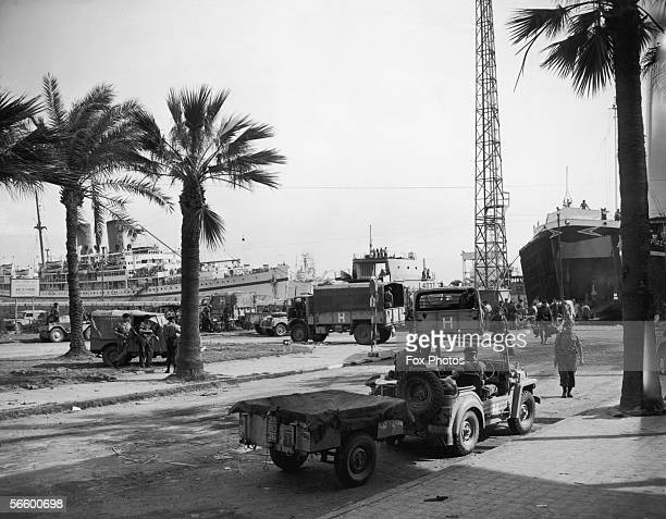 British troops and transport arrive in Port Said Egypt during the Suez Crisis 12th November 1956