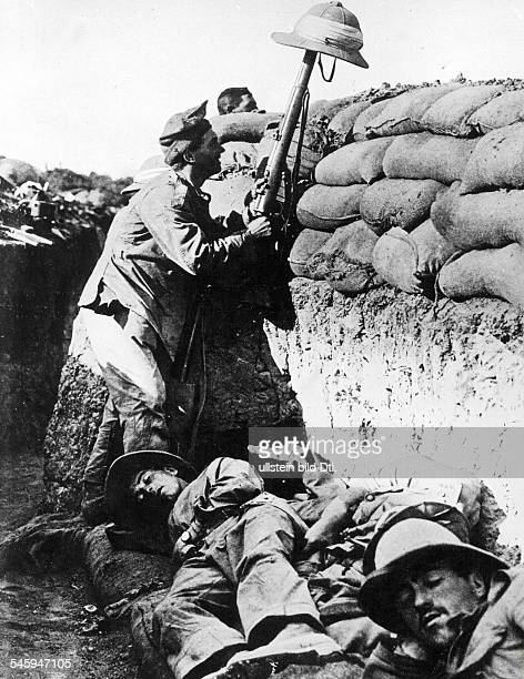 British troops at their position on the Gallipoli peninsula no further details summer 1915