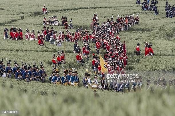 British troops Battle of Waterloo 1815 Napoleonic Wars 19th century Historical reenactment