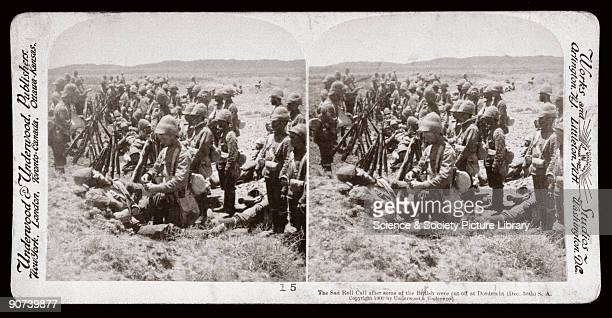 British troops carry out their roll call after an engagement at Dordrecht on December 30th 1899 when they were cut off by the Boer forces Some of the...