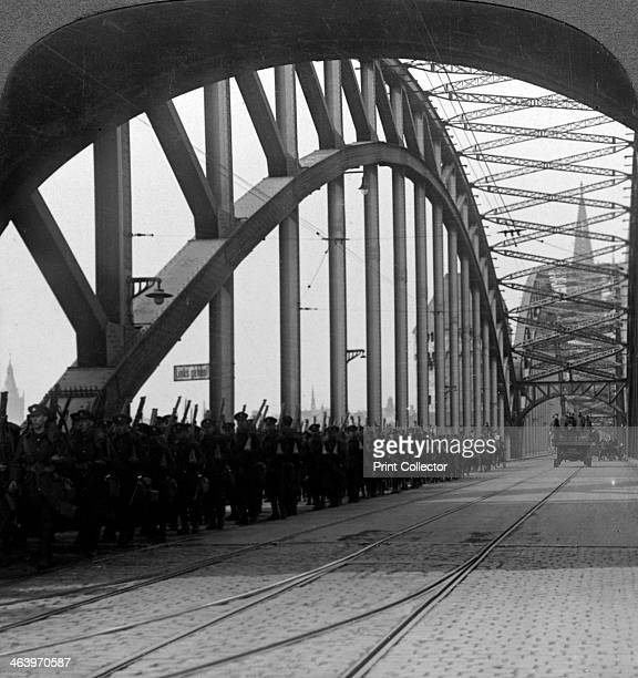 British troops crossing the bridge over the Rhine Cologne Germany 19181926 Under the terms of the armistice ending the First World War and the...