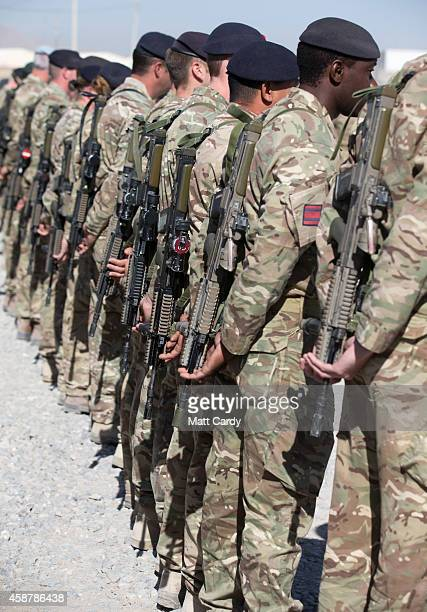 British troops gather for a ceremony to mark Armistice Day at Kandahar airfield on November 11 2014 in Kandahar Afghanistan Like Remembrance Sunday...