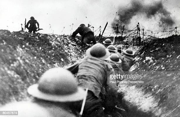 British troops go over the top of the trenches during the Battle of the Somme 1916