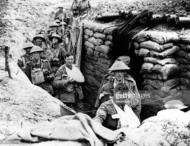 British troops going into sandbagges trenches in France during World War I