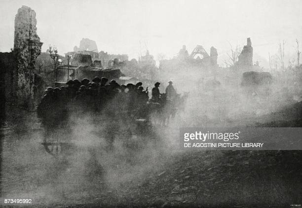 British troops going through the ruins of Ypres Flanders Belgium World War I from L'Illustrazione Italiana Year XLIV No 47 November 25 1917