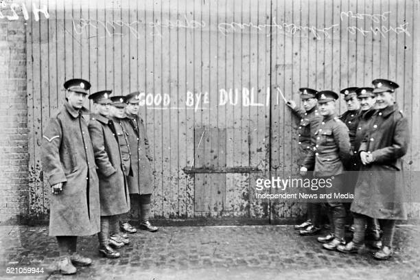British troops leaving Ireland Troops scribble Goodbye Dublin on gates
