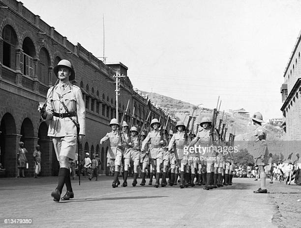 British Troops Marching Through The Streets Of Aden Empire outposts in Middle East Aden its development and importance