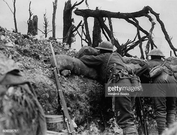 British troops observing from a trench near Thiepval September 1916 British Front France General Battle Somme