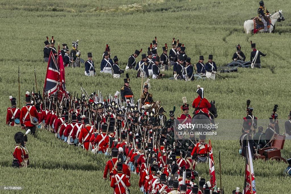 British troops, Battle of Waterloo, reenactment : News Photo