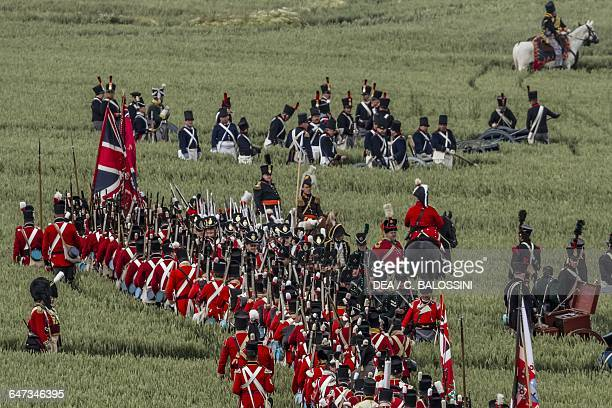 British troops on the move Battle of Waterloo 1815 Napoleonic Wars 19th century Historical reenactment