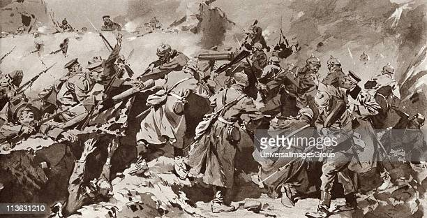 British troops overrun German trench during the Battle of Neuve Chapelle on the Western Front France during the First World War From The Illustrated...