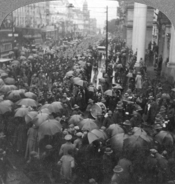 British troops parading on Adderley Street, Cape Town, South Africa, World War I