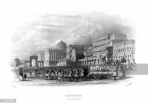 British troops parading on the Esplanade Calcutta India Mid19th century steel engraving