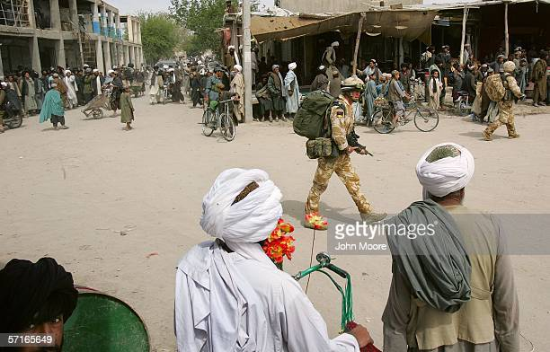 British troops patrol on March 23 2006 in Musa Qala in the southern Afghan province of Helmand An advance team of British forces has been meeting...
