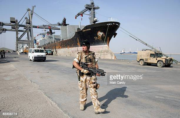 British troops patrol the quay side at the port of Umm Qasr near Basra on October 16 2008 in Basra Iraq Business at the port has been booming...