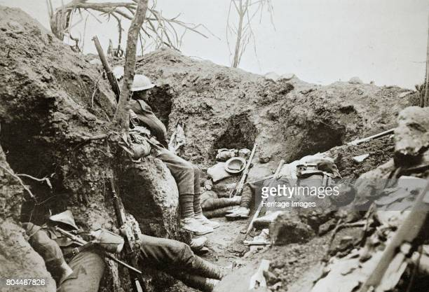 British troops resting in a captured German trench Somme campaign France World War I 1916 Artist Unknown