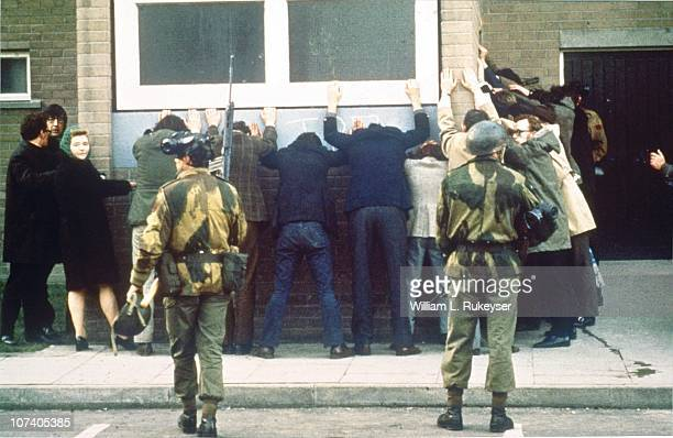 British troops search civilians on the day of the Bloody Sunday massacre when British Paratroopers shot dead 13 civilians on a civil rights march in...