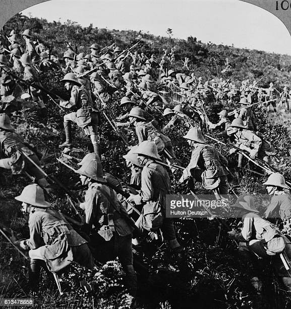 British troops together with French forces locked in battle with Turkish forces at the Gallipoli Peninsula which guards entry to the strategic Sea of...