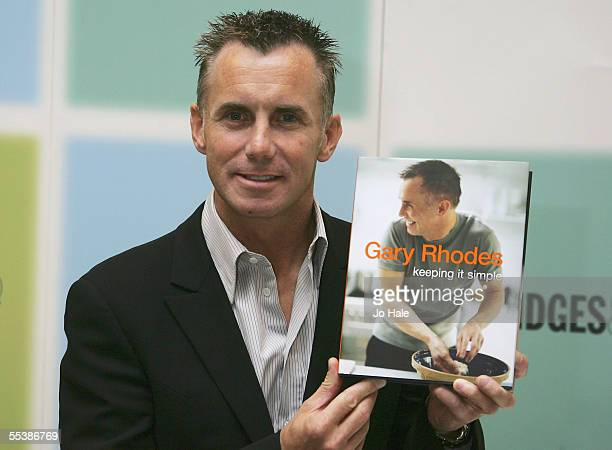 British TV chef Gary Rhodes signs copies of his recipe book publication Keeping It Simple at Selfridges on September 12 2005 in London England
