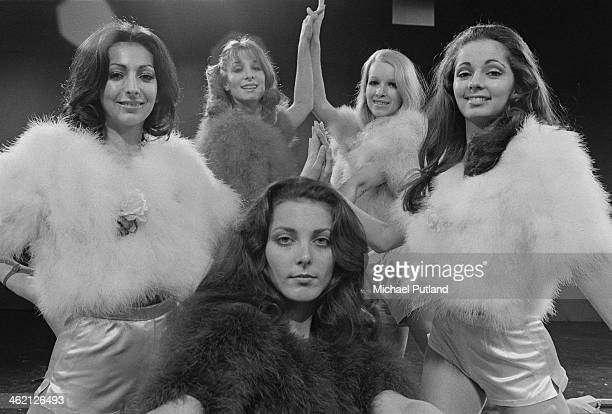British TV dance troupe Pan's People January 1974 Left to right Ruth Pearson Patricia 'Dee Dee' Wilde Louise Clarke Barbara 'Babs' Lord and Cherry...