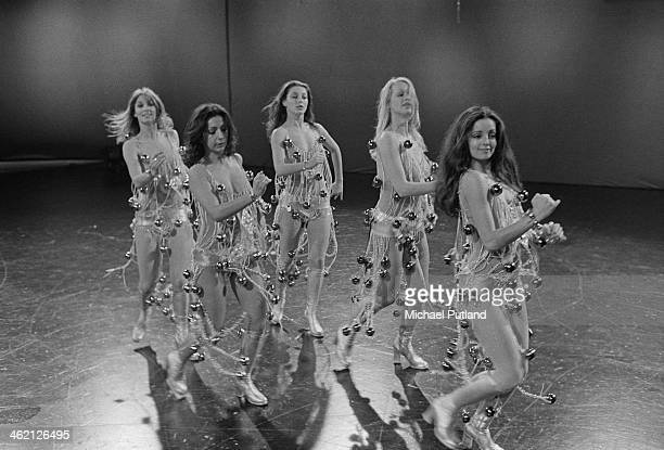 British TV dance troupe Pan's People performing January 1974 Left to right Patricia 'Dee Dee' Wilde Ruth Pearson Louise Clarke Barbara 'Babs' Lord...