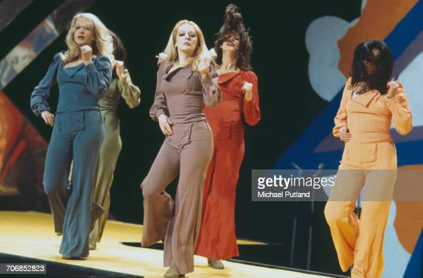 British TV dance troupe Pan's People performing on a television show circa 1973 Left to right Barbara 'Babs' Lord Patricia 'Dee Dee' Wilde Louise...