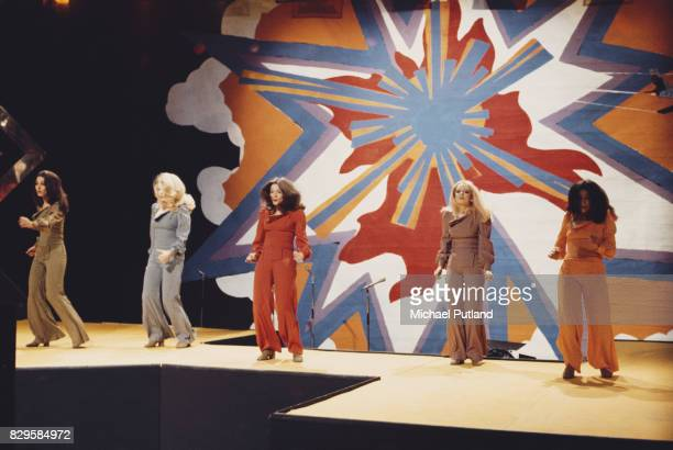 British TV dance troupe Pan's People performing on a television show circa 1973 Left to right Cherry Gillespie Barbara 'Babs' Lord Patricia 'Dee Dee'...