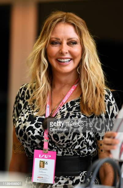 British TV personality Carol Vorderman is seen in the Paddock before the F1 Grand Prix of Bahrain at Bahrain International Circuit on March 31 2019...