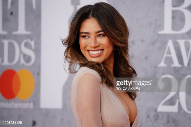 British TV personality Montana Brown poses on the red carpet on arrival for the BRIT Awards 2019 in London on February 20 2019 / RESTRICTED TO...