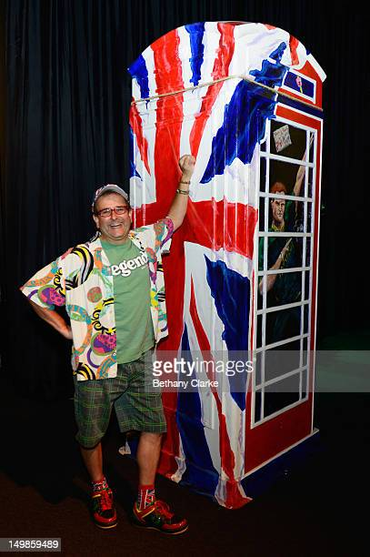 British TV personality Timmy Mallett poses next to his 'Ringa RoyalPhonebox' part of the BT ArtBox Project that was made to celebrate the 25th...