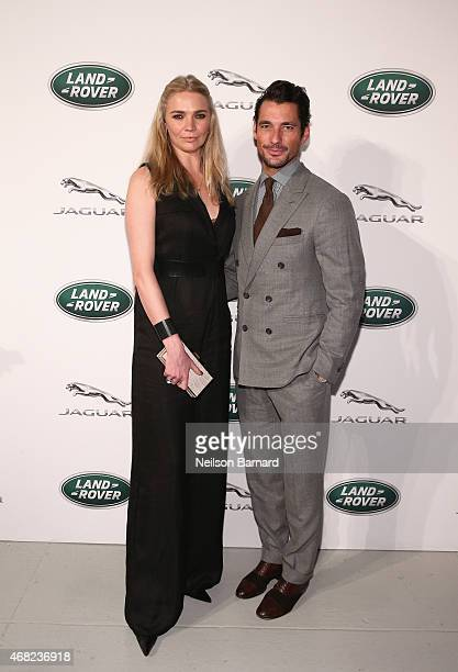 British TV presenter and former supermodel Jodie Kidd and supermodel David Gandy at the Jaguar Land Rover exclusive reception to unveil the 2016...