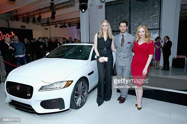 British TV presenter and former supermodel Jodie Kidd supermodel David Gandy and Emmy® nominated actress Christina Hendricks with the allnew Jaguar...