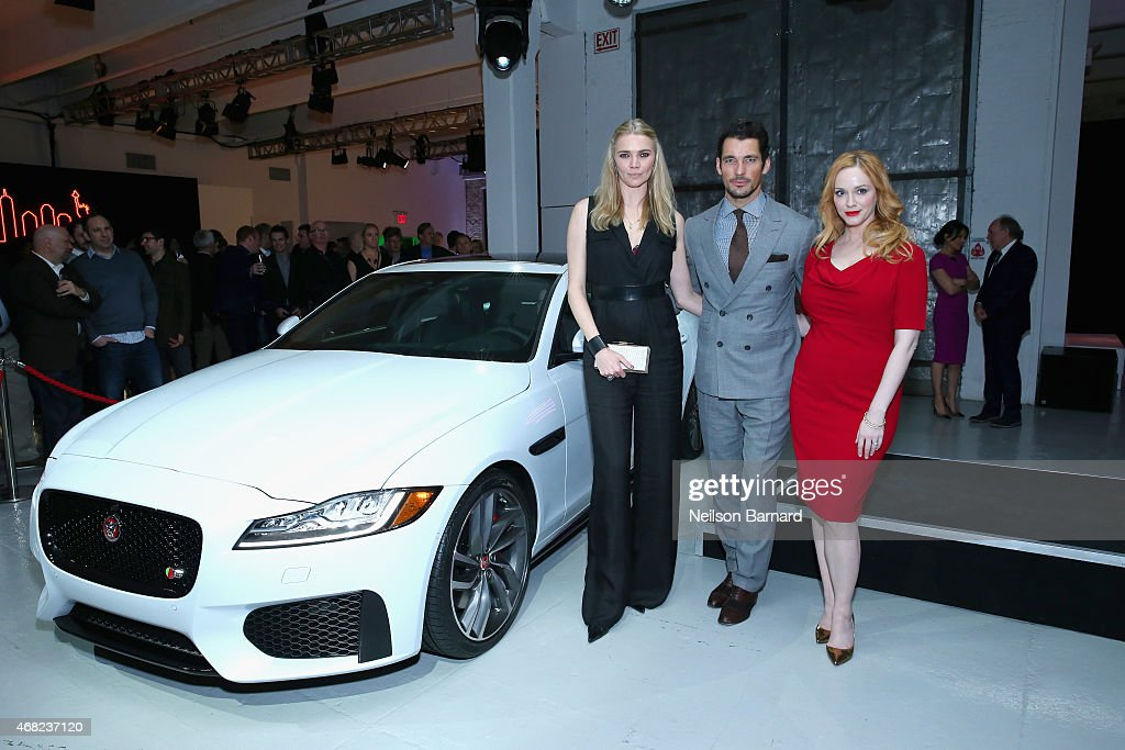 British TV presenter and former supermodel, Jodie Kidd, supermodel David Gandy and Emmy® nominated actress Christina Hendricks with the all-new Jaguar XF at Jaguar Land Rover's exclusive reception to celebrate the 2015 New York International Auto Show at Center548 in New York City on March 31, 2015 in New York City.