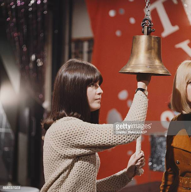 British TV presenter Cathy McGowan on the set of the pop music programme 'Ready Steady Go' London 1965