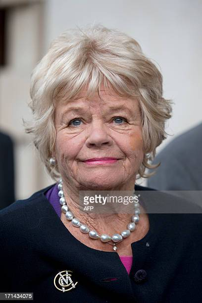 British TV presenter Judith Chalmers arrives at a memorial service for the South African born former England cricket captain Tony Greig at Saint...
