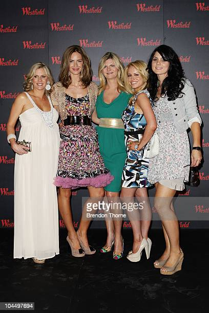 British TV presenters Trinny Woodall and Susannah Constantine pose with Cricket wives Karina Haddin Haley Bracken and Jessica Bratich at the...