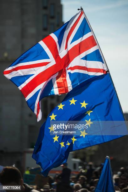 british union and eu flags - union jack stock photos and pictures