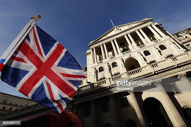 A British Union flag also known as the Union Jack is waved in front of the Bank of England in the City of London UK on Wednesday Nov 2 2016 Most UK...